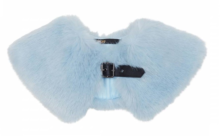 Maje Sky Blue Faux Fur Collar