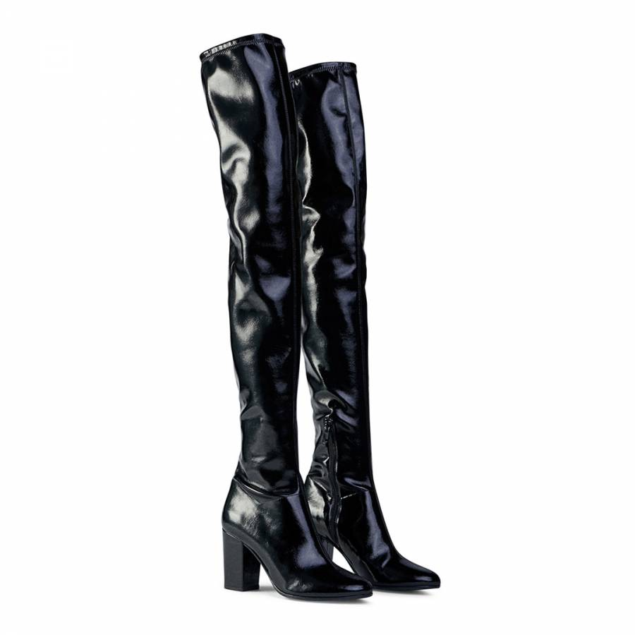 Maje Black Fotui Vinyl Heeled Thigh High Boot