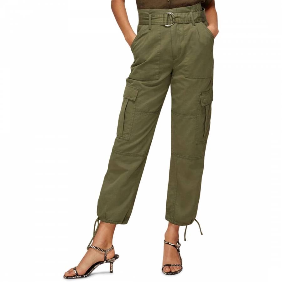 Whistles Khaki Cargo Military Cotton/Linen Trousers
