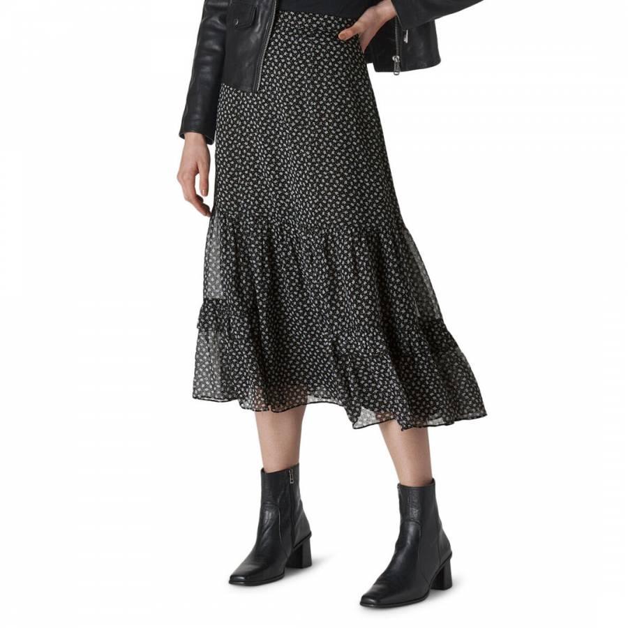 Whistles Black/Multi Almond Blossom Midi Skirt