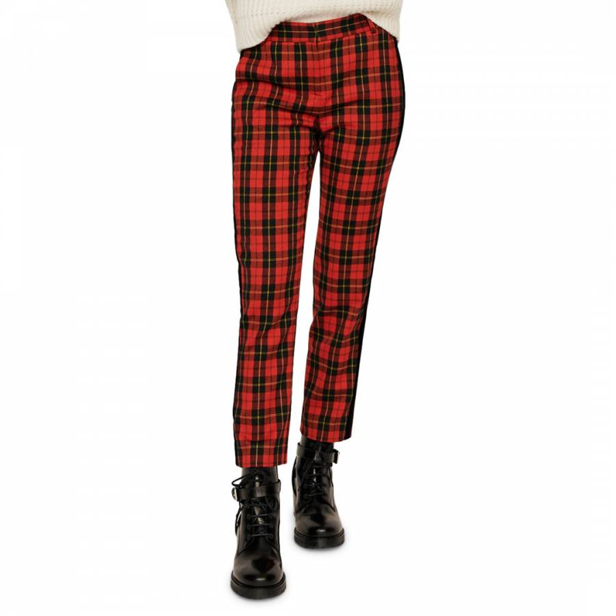 Maje Red Checked Fitted Trousers