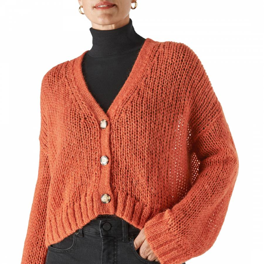 Whistles Red Oversized Wool Blend Cardigan