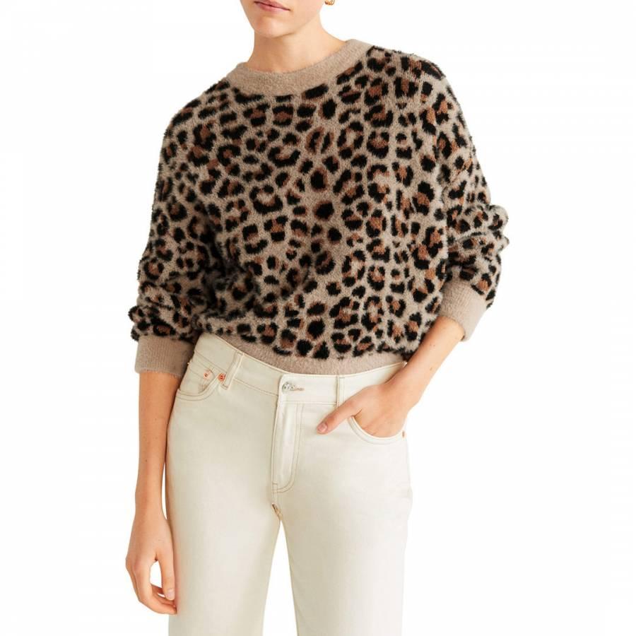 smart knitwear Mango Beige Leopard Print Jumper - £19