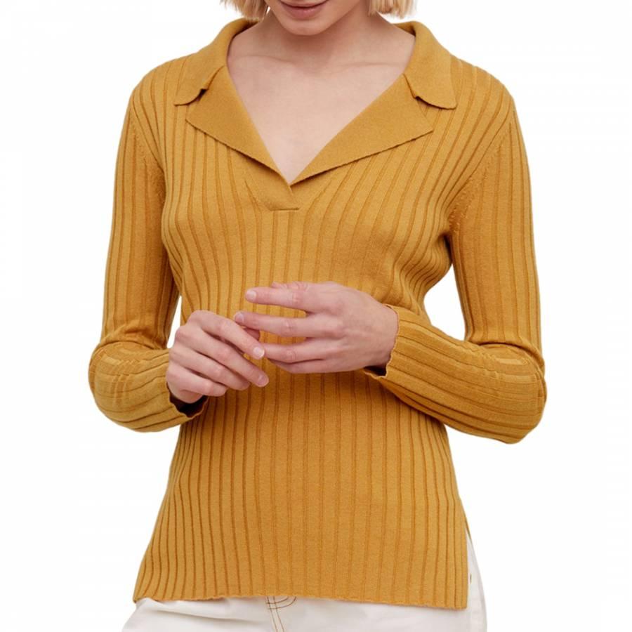 smart knitwear Collared Wool Blend Top