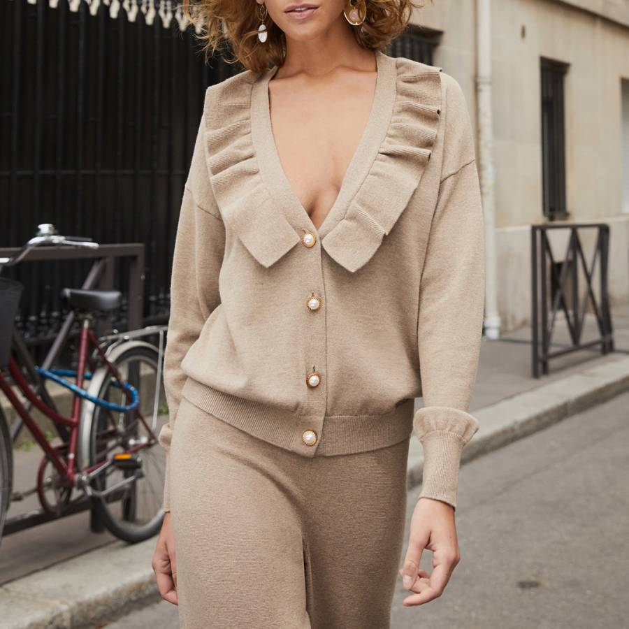 smart knitwear Rodier Camel Frill Wool Blend Cardigan - £45