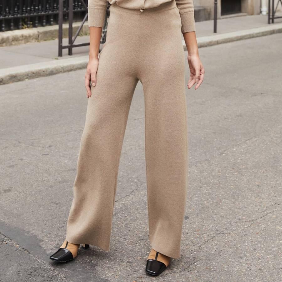 smart knitwear Rodier Camel Wide Wool Blend Trousers - £49