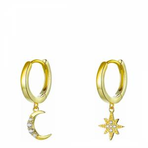 knitted sweatpants Liv Oliver 18K Gold Plated Star & Moon Drop Earrings - £39