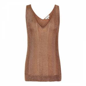 Reiss Rose Gold Metallic Vest knitted sweatpants Top - £45