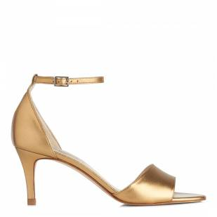 L.K. Bennett Metallic Bronze Leather Omya Heeled Sandals