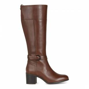 Geox Brown Leather New Asheel Knee High Boots - £99