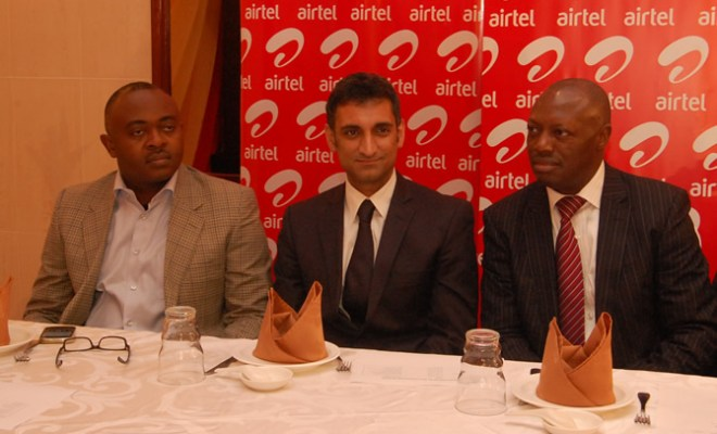 Emeka Opara, Director, Corporate Communications,Rajiv Sehgal, Vice President, Enterprise, SME & Postpaid and Inusa Bello at the launch of Airtel Club Business, in Lagos