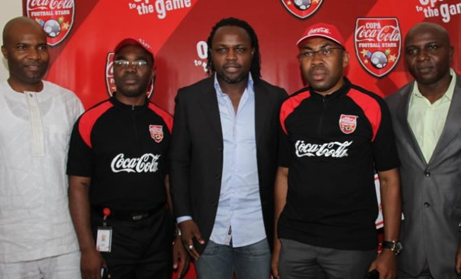 L-R Waheed Akani, COPA Coca-Cola Celebrity Coach, Clem Ugorji, Public Affairs and Communications Manager, Coca-Cola Nigeria, Victor Ikepba COPA Coca-Cola Celebrity Coach, Austin Ufomba, Marketing Director, Coca-Cola, Nigeria, and Nduka Ugabde, COPA Coca-Cola Celebrity Coach at the COPA Coca-Cola 4th kick off held in Lagos