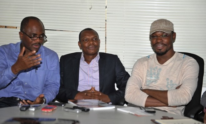 The Managing Director, Noah's Ark Communications Limited,Mr. Lanre Adisa,the Managing Director,Chini Productions amd Representative of Leuzers Archive in Nigeria,Mr. Nnamdi Ndu and the Creative Director,Noah's Ark Communications ,Mr Abolaji Alausa at a media parley to announce the listing of the Agency in the global Advertising Archive-Luezer's Archive in Lagos
