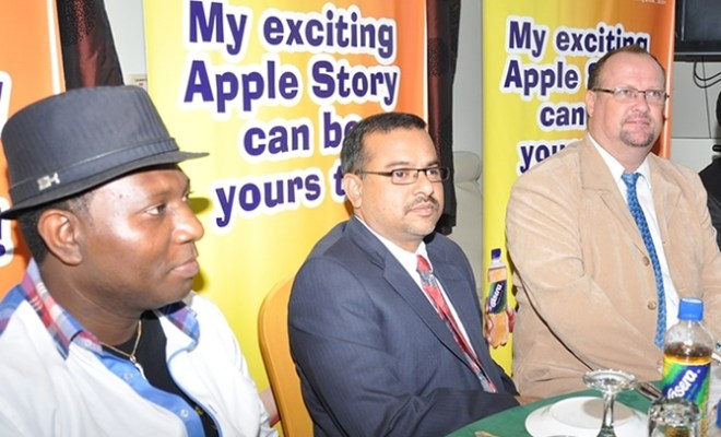 L-R: Managing Director, BD Consult, Mr. Tola Bademosi; Chief Operating Officer, The La Casera Company limited, Mr. Prahlad Gangadharan; General Manager-Marketing, Mr. Dave van Rensburg during the media boat cruise on the launch of La Casara Apple StoryThematic Company in Lagos