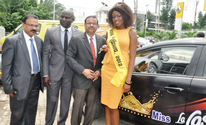 L-R: The Marketing Manager, The La Casera Company Limited, Mr. Abraham Benson, the Managing Director, Brand Footprint Communications, Mr Otis Ojeikhoa and the Chief Operating Officer, The La Casera Company Limited, Mr Prahlad Gangadharan during the presentation of Car prize to Miss La Casera 2012, Anthoinette Igebu in Lagos