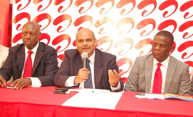 Chief Operating Officer and Executive Director, Airtel Nigeria, Deepak Srivastava, Chief Sales Officer, Inusa Bello (L) and Chief Marketing Officer, Olu Akanmu (R) at the launch of Airtel Quick Recharge Voucher in Lagos