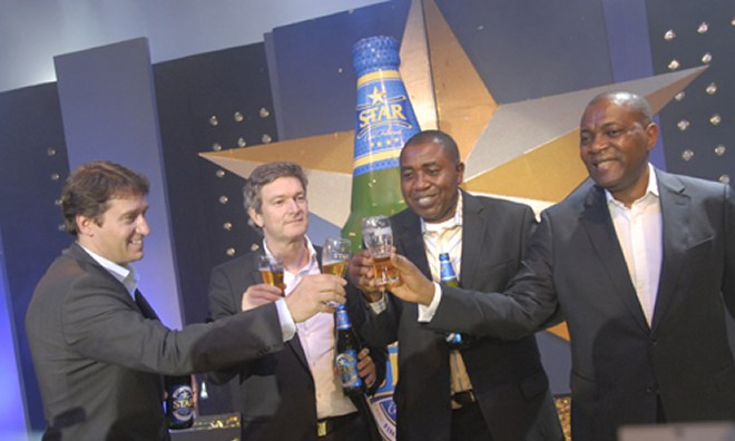 L-R: Marketing Director, Mr. Walter Drenth; Managing Director, Mr. Nicolas Vervelde and Sales Director, Mr. Hubert Eze and HR Director, Mr. Victor Famuyibo, all of Nigerian Breweries Plc, during the re-launch of STAR lager Beer at Eko Hotel & Suites in Lagos