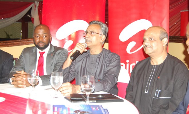 Airtel Nigeria's Chief Executive Officer and Managing Director, Rajan Swaroop (m) recounting the company's milestones during a media roundtable in Lagos on Wednesday. He is flanked by the Chief Operating Officer and Executive Director, Deepak Srivastava (R) and Director of Human Resources, Jibril Saba (L)
