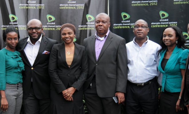 L-R:Specialist, Treasury Operations at Etisalat Nigeria, Uyinmwen Onaghise; Head, Sales Support & Operations at Etisalat Nigeria, Victor Nwaobia; Specialist, Telecentre Sales, Raliat Mohammed; Director, Indirect and Corporate Sales at Etisalat Nigeria, Ken Ogujiofor; Head, Lagos and South-West Region at Etisalat Nigeria, Jimmy Tella and Specialist, Trade Key Account/Alternate Channel at Etisalat Nigeria, Folake Oyekanmi at Etisalat's Channel Partner Conference 2012 which held at the Renaissance Hotel, Ikeja Lagos