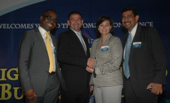 (L-R): MTN Corporate Service Executive, Akinwale Goodluck; Vice President, Nokia West-Africa, James Rutherford; Founder, Cherie Blair Foundation for Women, Cherie Blair and Global Head & Vice President, Nokia Life, Jawahar Kanjilal, at the Nokia Business Women Launch event, held at the Civic Centre, Victoria Island, Lagos,