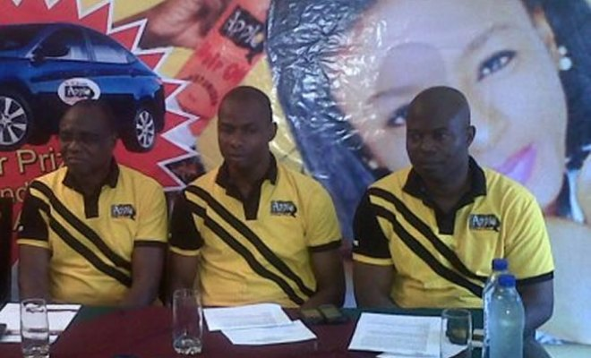 C.E Okeke, A.G.M. Ugochukwu Efobi, G.M. and Nasiru Ahmed – National Sales Manager, Apple Cosmetics at the press briefing.