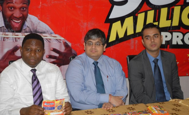 L-R, Mr. Tola Bademosi, Managing Director, BD Consult, Mr. Deepak Singhal,MD/CEO, Dufil Prima Foods Plc and Mr. Manpreet Singh, Head of Marketing,Dufil Prima Foods Plc. at a media briefing for the launch of Indomie Super Millionaire Promo in Lagos Recently.