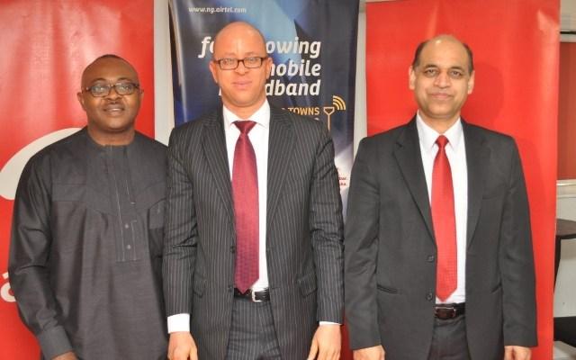 Director: Corporate Communications & CSR, Airtel Nigeria, Emeka Oparah; Director: Regulatory Affairs & Special Projects, Airtel Nigeria, Osondu Nwokoro and Chief Technical Officer, Airtel Nigeria, Awadhesh Kalia