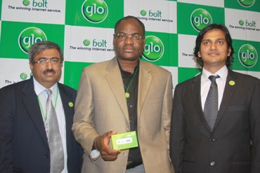 Head of Gloworld, Rajiv Handa, Head, 3G and e-Top Up Sales, Gabriel Olanrewaju and GM, Marketing, Ashutosh Tiwary