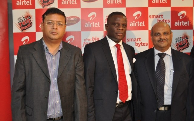 (L-R) Tanmoiy Saha, Vice President, Usage and Retention, Airtel Nigeria; Olu Akanmu, Chief Marketing Officer, Airtel Nigeria and Deepak Srivastava, Chief Operating Officer & Executive Director, Airtel Nigeria
