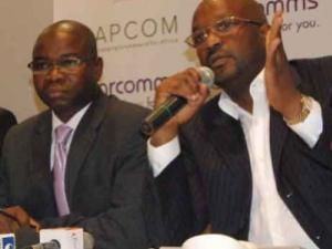 Olusola Oladokun, Ag. Financial Director and Demola Elesho, New CEO, Starcomms at the Capcom -Starcomm briefing