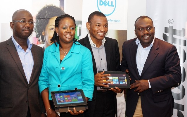 Distribution Account Manager,Dell, Franklin Ezeji; Client Product Marketing Manager, Anglophone East and West Africa, Dell, Annie Odo-Effiong; Consumer Channel Group Director, Microsoft, Mark Ihimoyan; and Market Development West Africa, Intel, Olufemi Babajide; during the media unveiling of Dell Tablets-Ultrabooks and Windows 8 at Pearl Court in Ikoyi, Lagos on Monday.