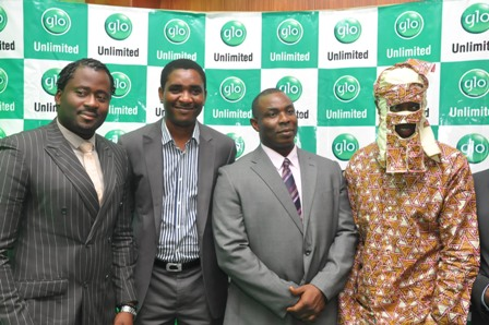 Globacom's Head of Advertising,Tunde Kaitell (second left), Mr Fidelis Ajibogun, Assistant Director, National Lottery Regulatory Commission, Mr George Kayode Noah, Managing Director, Lagos State Signage and Advertising Agency (LASAA) and Glo ambassador Lagbaja