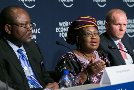 Chris 'E Onyemenam, Director General and Chief Executive of the National Identity Management Commission; Dr. Ngozi Okonjo-Iweala, Minister of Finance and Coordinating Minister for the Economy in Nigeria; Daniel Monehin (Division President, Sub Saharan Africa, MasterCard)