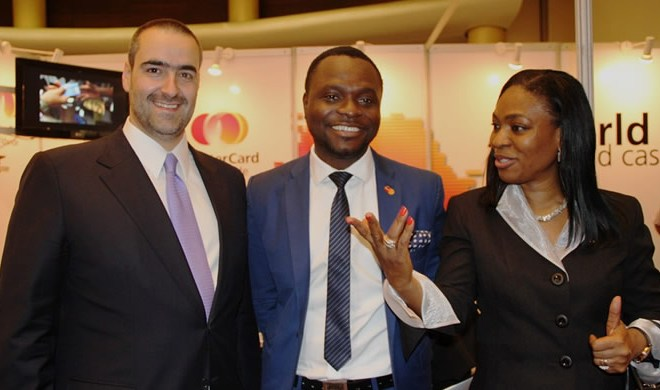 From Left, Managing Director, SIBs International, Pedro Hipolito; Director, Acceptance Development, West Africa, MasterCard, Kamil Olufowobi; and Executive Director, Business Development, Nigeria Inter-Bank Settlement System PLC (NIBSS), Christabel Onyejekwe, at the 13th edition of Card, ATM & Mobile Expo Africa, held at Eko Hotel & Suites, Lagos, on Tuesday, June 11th, 2013.