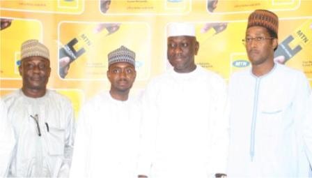 L-R, Mallam Musa Zubairu, Former State Coordinator, National Poverty Eradication Programme (NAPEP), Kaduna State, Mallam Aminu Sani, Progressive Segment Manager, MTN, Hon Abdulmumin Jibrin, Chairman, House Committee on Finance, House of Representative, Mallam Abubakar Manzo, Northern Regional Facility Manager, MTN