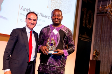 Anthony Akaeze collecting the 2013 Diageo Africa Business Reporting Award (DABRA) for Best Tourism Feature at the recently concluded award ceremony in London recently