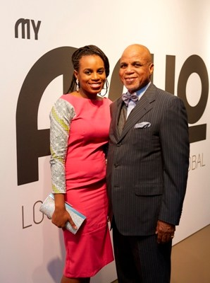 Label Owners Dolapo Shobanjo and Chairman Troyka Holdings, Mr. Biodun Shobanjo at the relaunch of MyAsho.com and MyAshomarket.com in London,