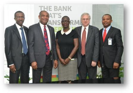 (L-R): Executive Director/Chief Financial Officer, Abdulrahman Yinusa; Executive Director, South Business, Victor Ezenwoko; and Head, Agri-Finance, Lois Sankey (all of Diamond Bank PLC); Financial Markets Manager, Sub-Saharan Africa, Ian Weetman; and Operations Officer –Access to Finance, Theophilus Onadeko (both of the IFC) at the signing ceremony and press conference for a technical assistance and advisory agreement to build Diamond Bank's capacity to increase access to finance for agriculture small and medium enterprises in Nigeria