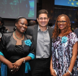 Bunmi Oke, AAAN President, Acting Managing Director, Etisalat, Mr. Mathew Willsher and another guest at the event