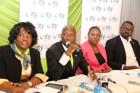 From Left, Head Corporate Communication, Unity Bank Plc, Theodora Amechi, Acting Executive Director, South, Mahmud Elems, Senior Account Director/Group Co-ordination and Business Development, The Quadrant Company, Mrs. Tosin Adefeko and Acting General Manager/Divisional Head Quality Management, Unity Bank Plc, Aliyu Ma'aji, at the Unity Bank Media Interactive session held at the Protea Hotel, Lagos