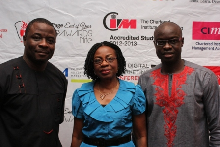 L-R Onyekachi Onubogu, Commercial Director, Promasidor , Iquo Ukoh, Marketing Director Nestle Nig Plc and Princewill Omorogiuwa, CEO Simon Page Business School