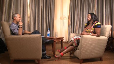 Omotola and her interviewer on set (CNN)