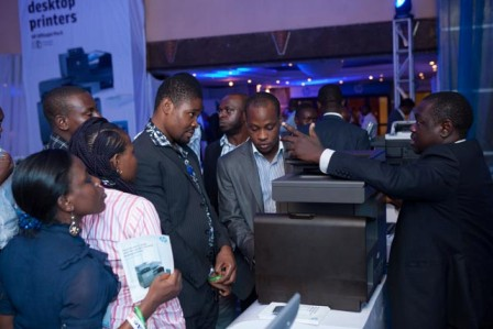 Tosin Okubanjo, LES Category Manager, West, East and Southern Africa taking customers and media personnel through the new range during HP Elite Experience in Lagos