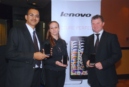 L-R: The Director of Operations, Middle East and Africa at Lenovo, Shashank Sharma; the Marketing Manager, Lenovo Africa, Monique de Klerk and the General Manager, Lenovo Africa, Graham Brown at the media launch of Lenovo Smartphones in Lagos