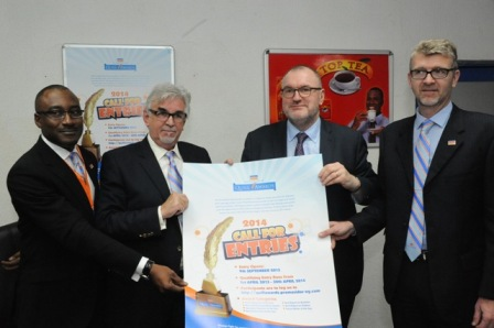 L-R: Mr. Andrew Enahoro, Head, Legal and Public Relations; Chief Keith Richards, in-coming Chairman, both of Promasidor Nigeria Limited; Nigel Baker, Chief Executive, Thomson Foundation and Olivier Thiry, in-coming MD/CEO of Promasidor Nigeria at a press conference on Promasidor/Thomson Foundation partnership on Quill Awards in Lagos