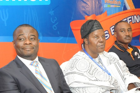 L-R: Mr. Onyekachi Onubogu, Executive Director, Promasidor Nigeria Limited, Professor Adewale Solarin, DG/CE, National Mathematics Centre, Abuja and Mr. Andrew Enahoro, Head Legal and Public Relations, Promasidor at a press briefing