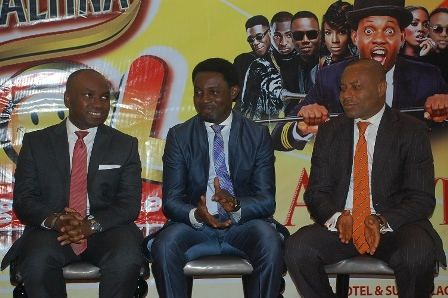 (L-R) Marketing Manager, Non-Alcoholic Drinks Nigerian Breweries Plc, Sampson Oloche, Chief Executive Officer CorporateWorld Entertainment, Ayodeji Makun (AY) and the Corporate Media and Brand Public Relations Manager, Edem Vindah (AY) at the Maltina Laugh Out Loud (LOL) briefing