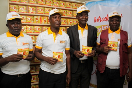 L-R: Senior Head of Sales, Doyin Instant Noodles, Mr. Duru Nnamdi; Head of Sales, Mr. Godfrey Ogbitebu; Finance Controller, Mr. Stephen Daramola and Marketing Manager, Mr. Biodun Awoyemi, at the launch of Doyin Instant Noodles in Lagos