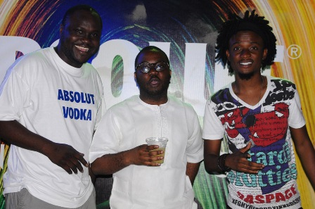 L-R: Brand Manager, Absolut Vodka, Akintayo Akinseloyin; Marketing Director, Sola Oke, both of Pernod Ricard Nigeria and MTV Base VJ, Ehizojia Okoeguale, during the Absolut Cocktails Party at Elegushi Private Beach