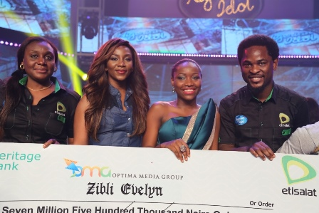 (L-R): Head, Events & Sponsorships, Etisalat Nigeria, Modupe Thani; Nigerian Actress, Genevieve Nnaji; winner of Etisalat sponsored Nigerian Idol 4, Zibili Evelyn (Evelle) and Director, Brands & Communications, Etisalat Nigeria, Enitan Denloye